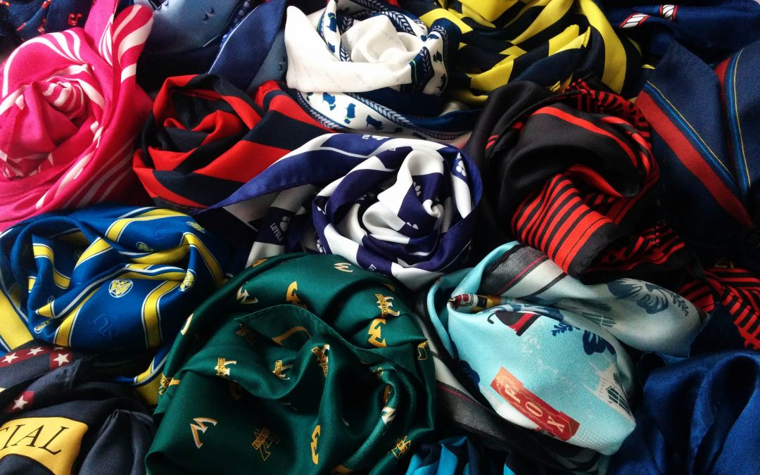 colorful custom scarves in many fabrics